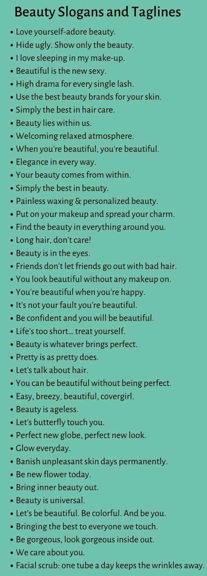 Beauty Slogans