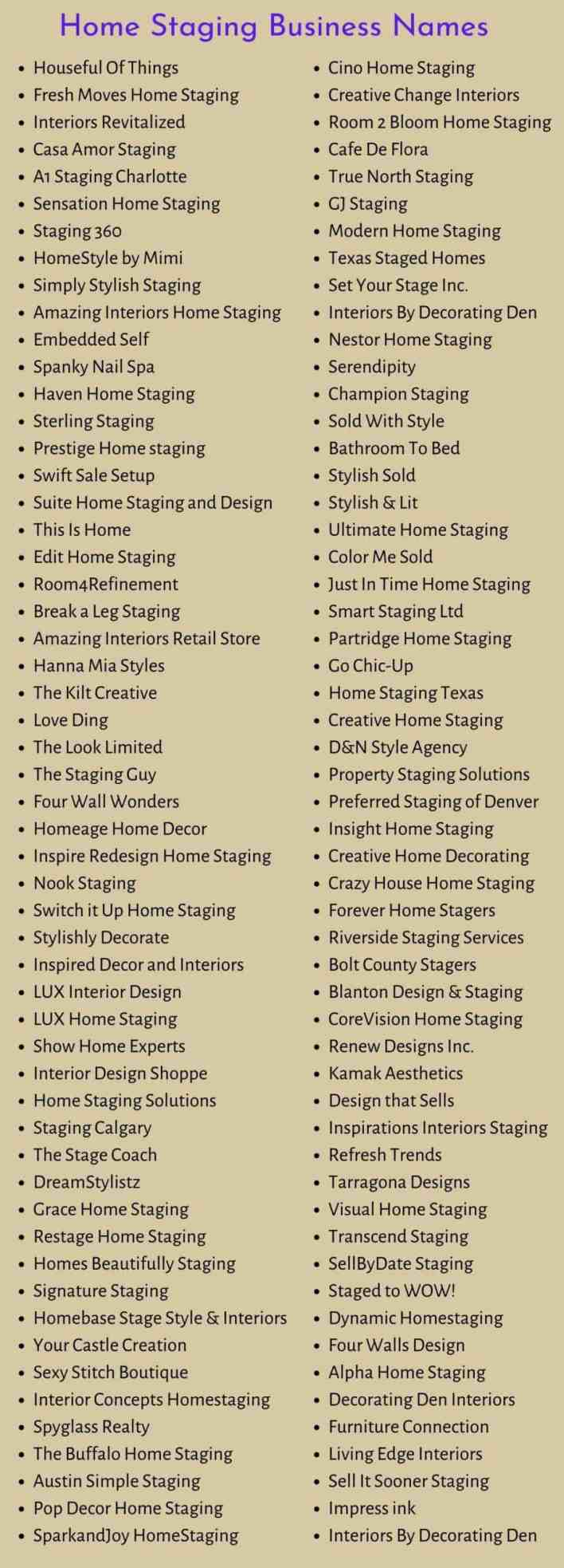 Home Staging Business Names