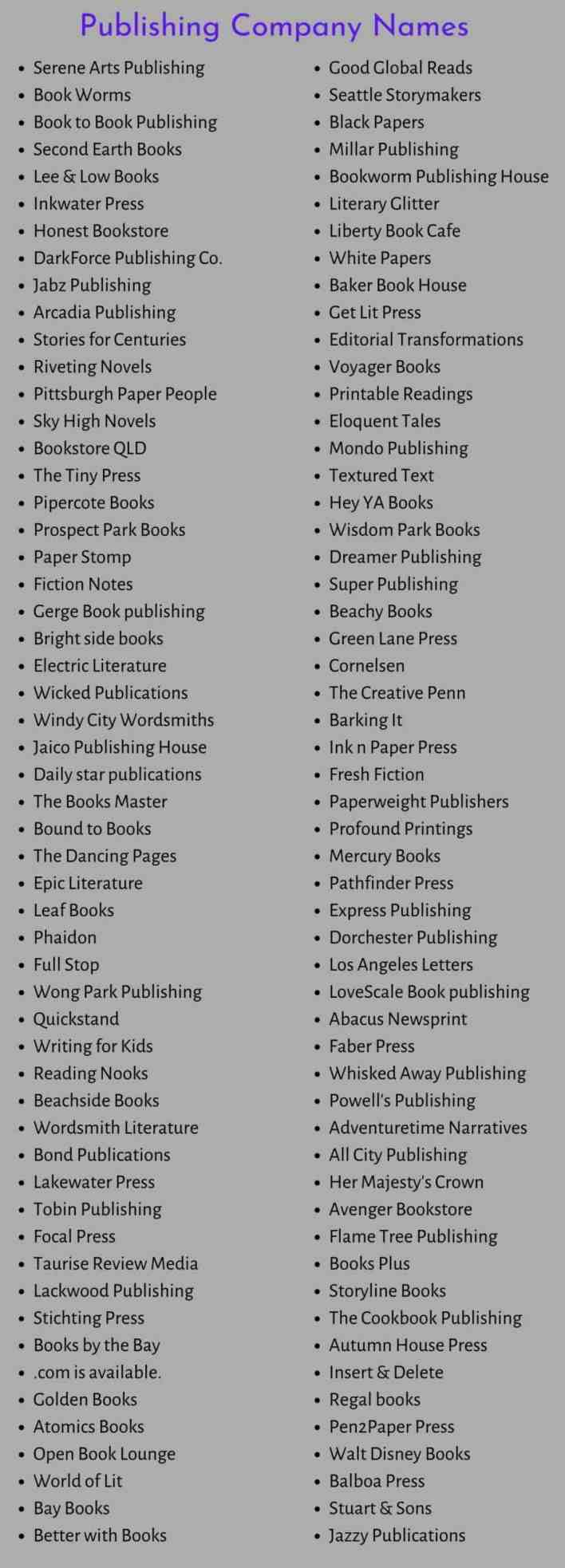 Publishing Company Names