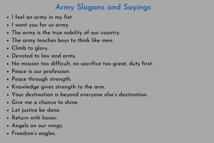 Army Slogans