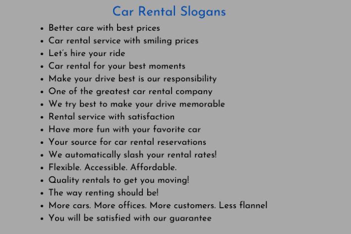 Car Rental Slogans
