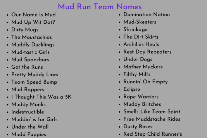 Mud Run Team Names