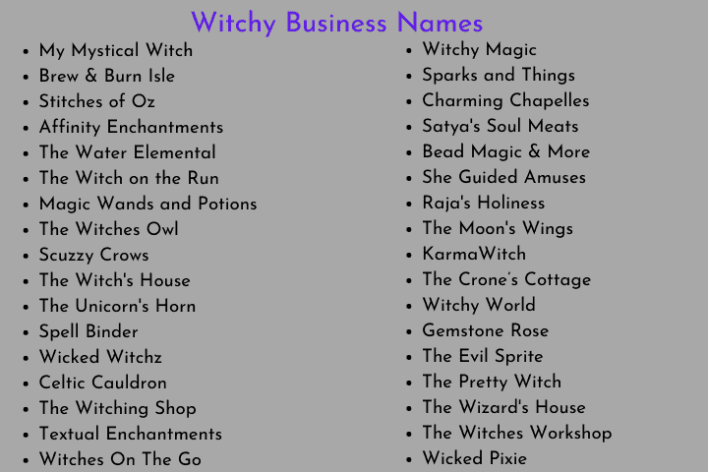 Witchy Business Names