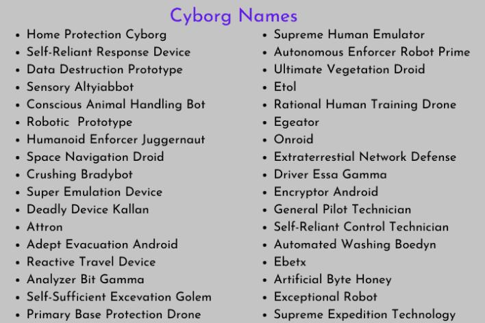 Cyborg Names