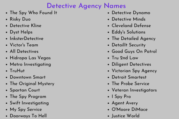 Detective Agency Names