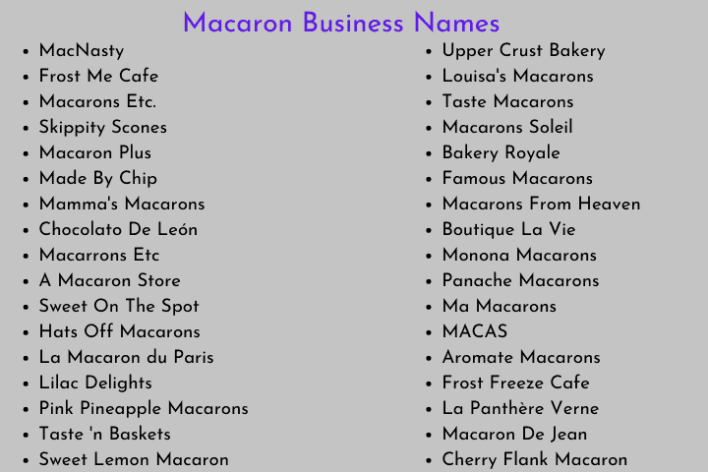 Macaron Business Names