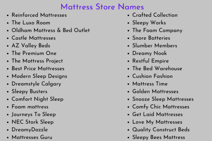 Mattress Store Names