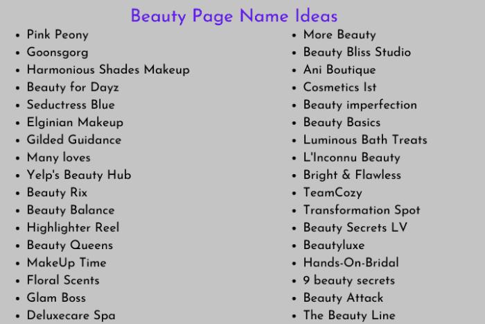 Beauty Page Name Ideas