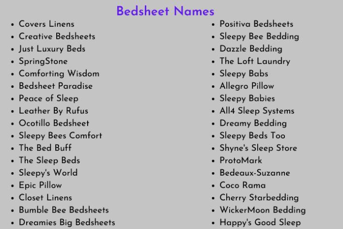 Bedsheet Names