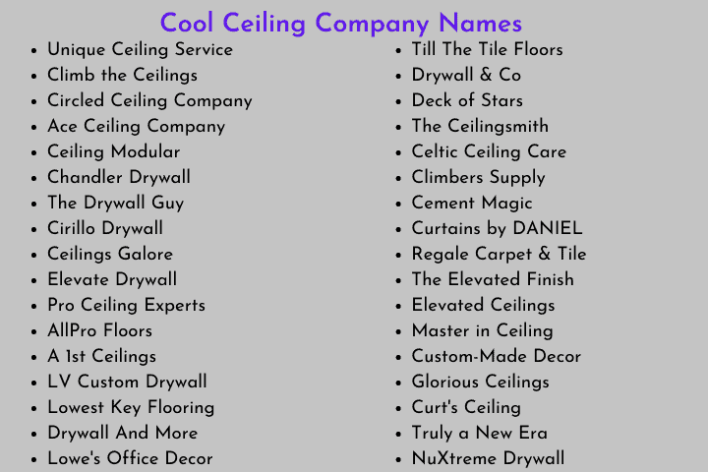 Ceiling Company Names