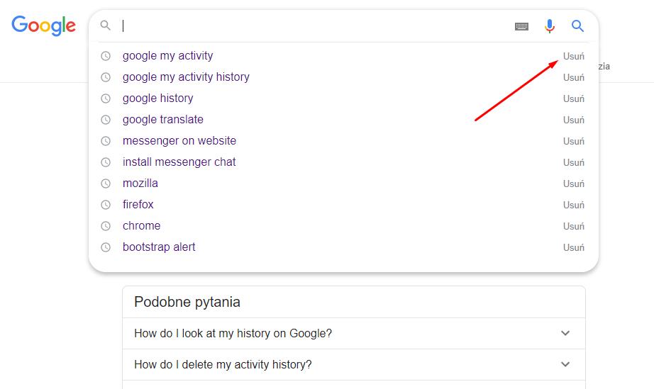 Historia wyszukiwania Google, usuwanie przez przycisk 'Usuń'