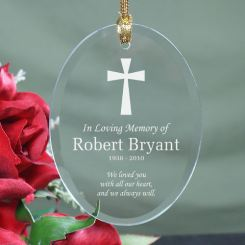 In loving memory cross glass oval ornament