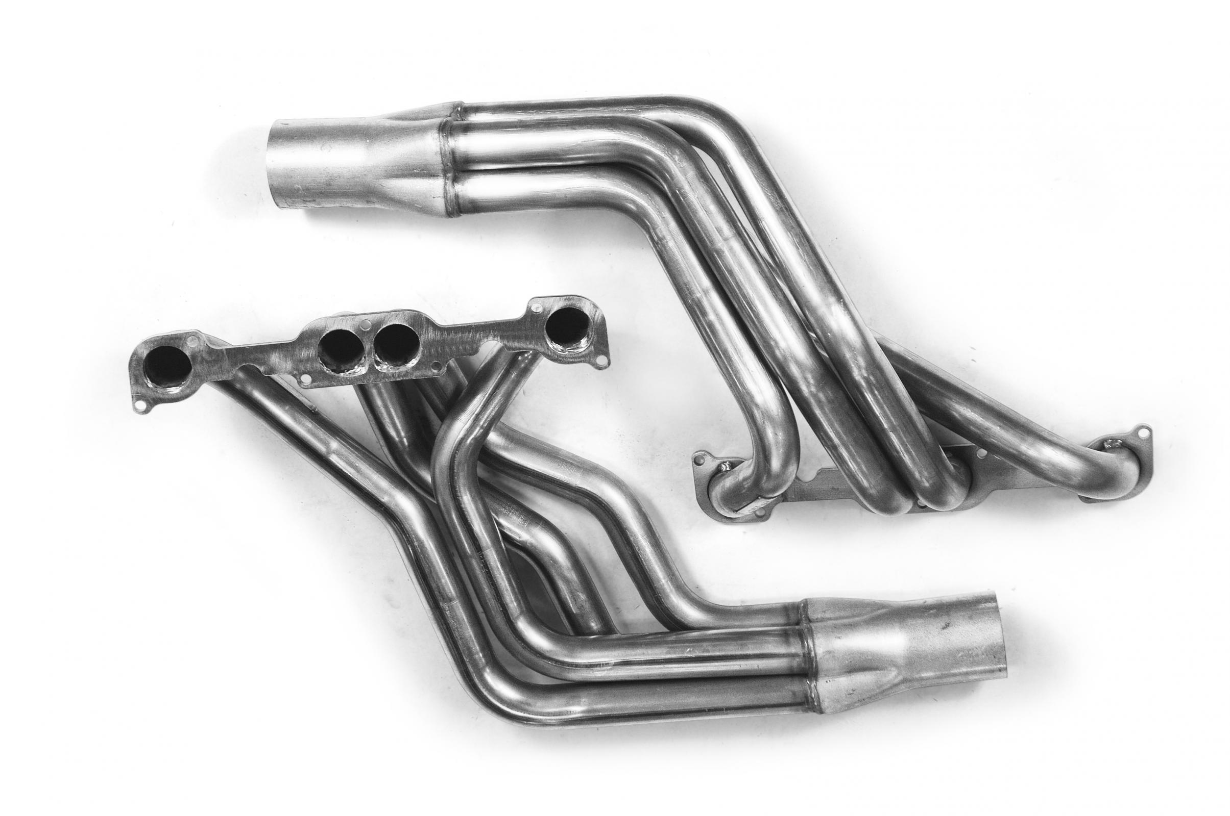 1 7/8 x 3 1/2 Stainless Steel Long Tube Headers w/Adapter Plate Kit  1979-1993 Mustang SBC Engine w/23 Degree Cylinder Heads w/Stock Bolt  Pattern  Fits