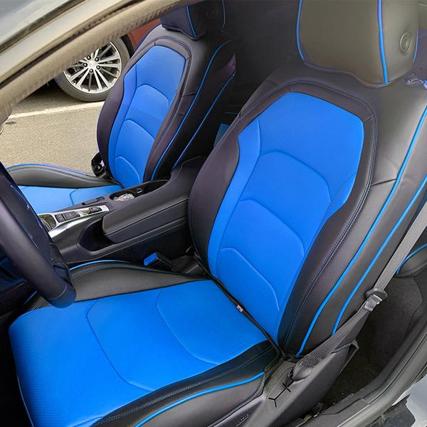 2010-2015 Chevy Camaro Black//Blue Artificial leather Custom fit Front seat cover