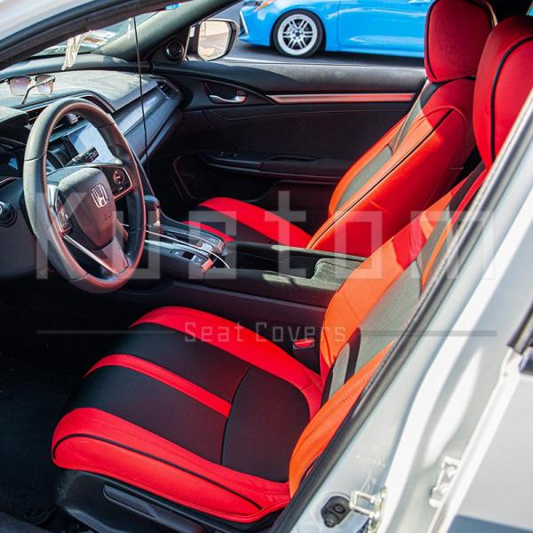 Two-Tone Front Leather Seat Covers | 2016+ Honda Civic