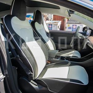 Two-tone Custom Leather Seat Covers   2017-21 Tesla Model 3