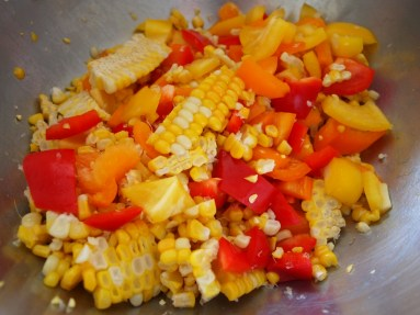 corn off the cob and peppers