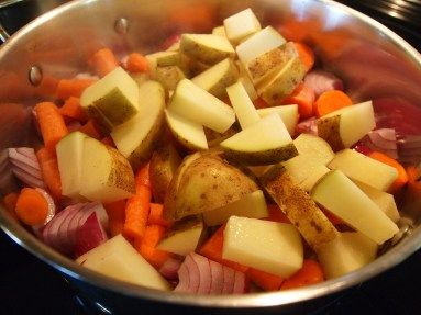 red onion, carrots, potatoes