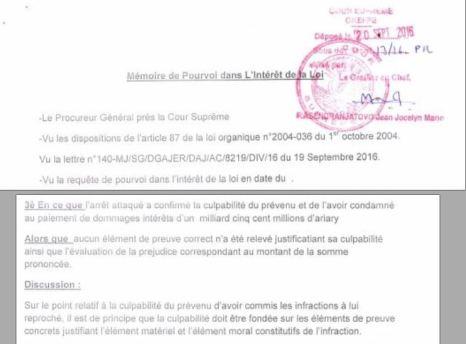 Cour suprême de Madagascar pourvoi dans l'intérêt de la loi du 20 septembre 2016