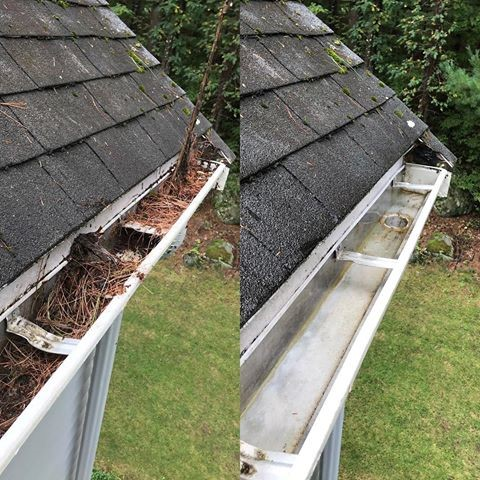 dirty downspout before and after