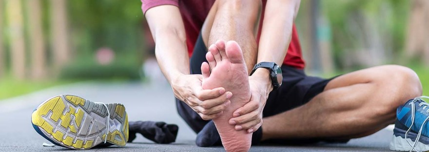 Runner suffering from plantar fasciitis