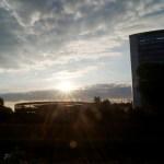 Sonnenaufgang bei Burda in Offenburg.