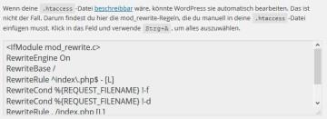 .htaccess in den WordPress-Permalink-Einstellungen
