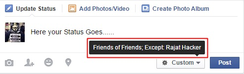 hide facebook status from specific friends