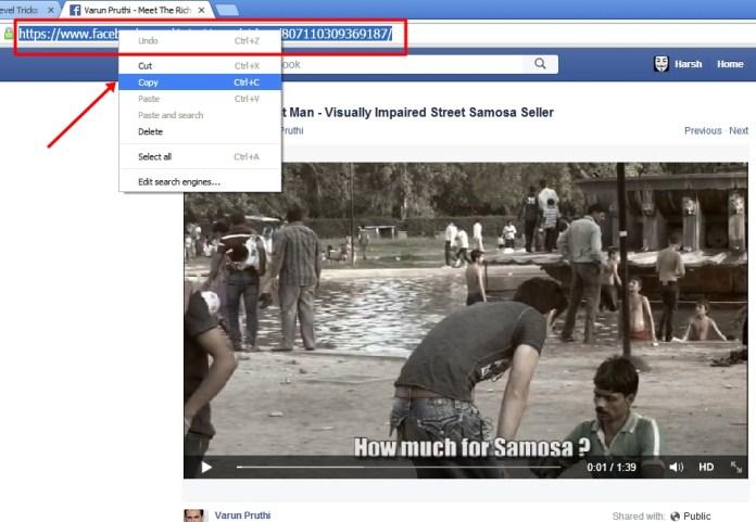 Just Copy facebook video's download link.