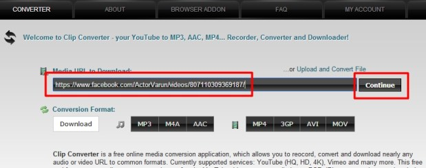 Paste that facebook video link and click continue