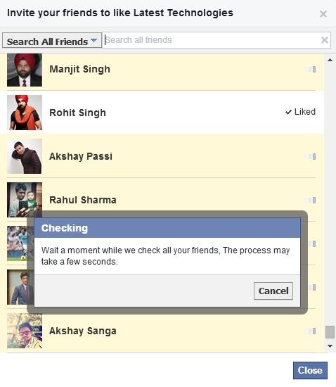 Invite all Facebook Friends By Single Click