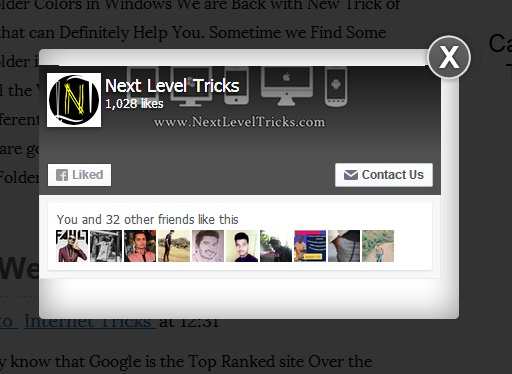 Add Facebook Popup Like Box Widget in Blogger