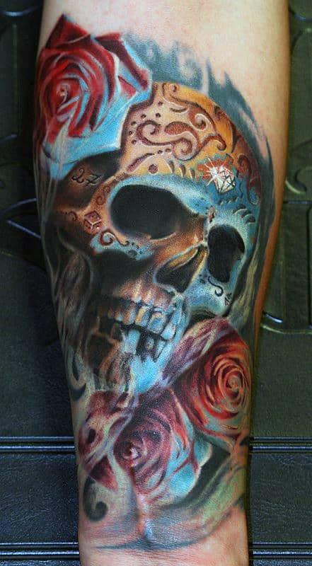 3d Mens Realistic Sugar Skull Tattoos On Wrist