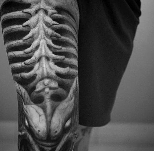 skeleton tattoos men - spine-tingling