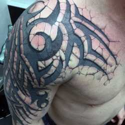 tribal tattoos arm tattoo line stone shoulder mens 3d designs chest sick cool tatoo interwoven right nextluxury tatoos tatto guys