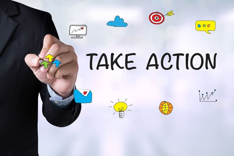 Don't read about taking action - Successful businessman
