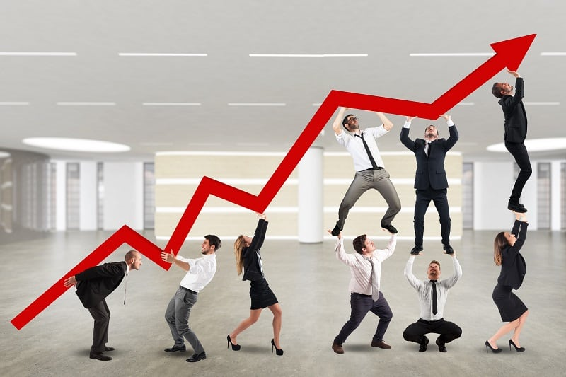 Expand in a down cycle - Successful businessman