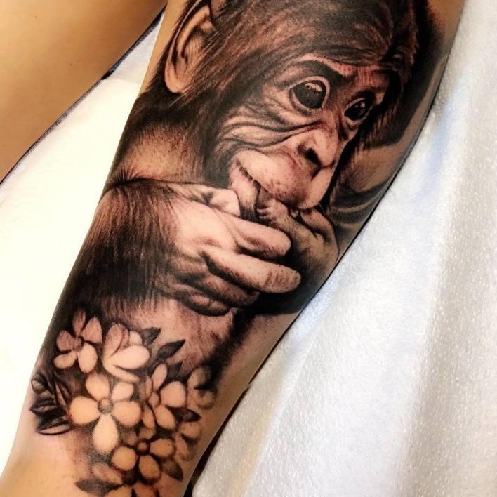 Baby Monkey Tattoo -allena.marie