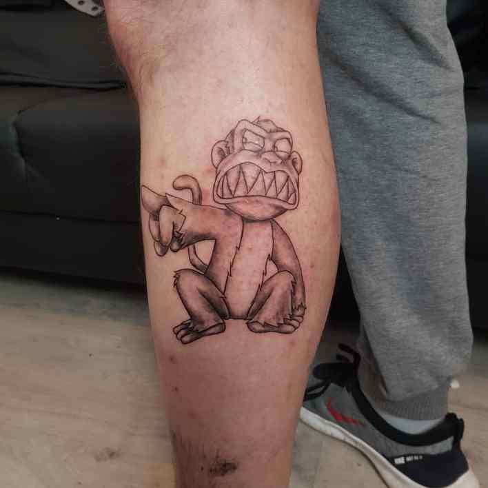Cute Monkey Tattoo -mu_genn_tattoo