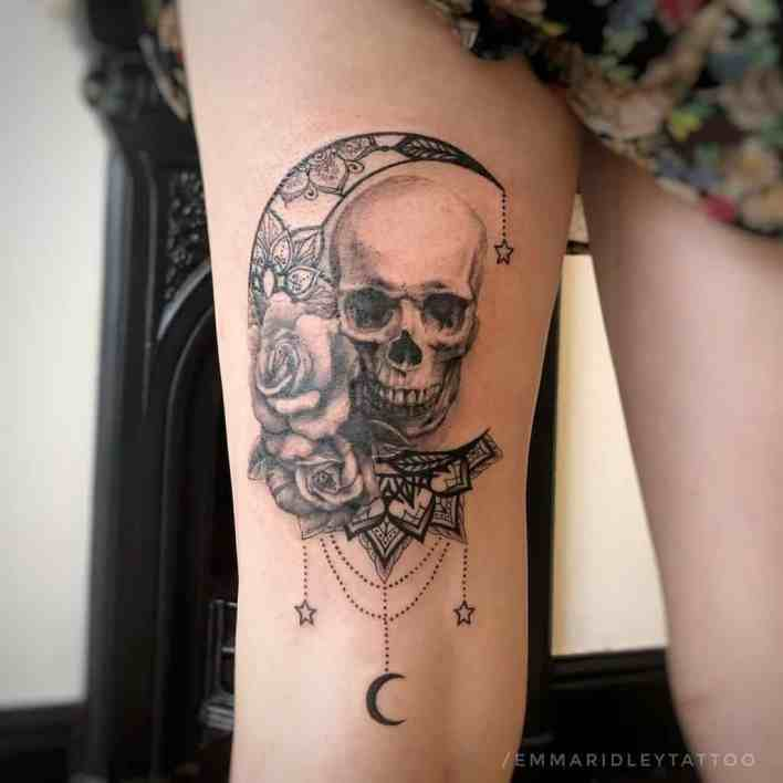 Moon and Stars Mandala Tattoo emmaridleytattoo