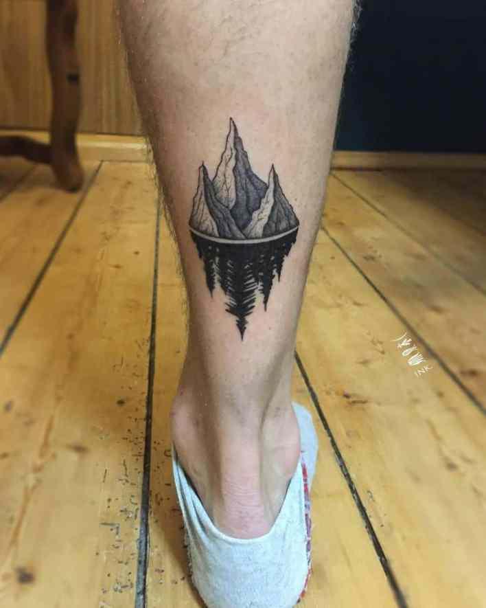 Mountain Tree Silhouette Tattoo kuba.ink