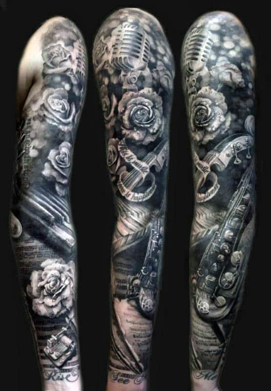 Music Half Sleeve Tattoo : music, sleeve, tattoo, Music, Sleeve, Tattoos, Lyrical, Design, Ideas