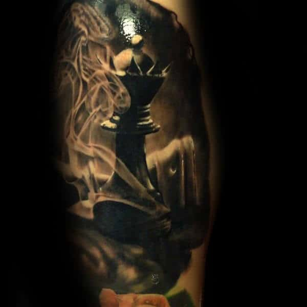 20 Dark King And Queen Chess Tattoos Ideas And Designs