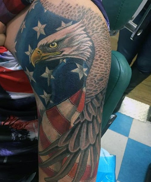 Eagle With American Flag Tattoo : eagle, american, tattoo, American, Tattoo, Ideas, [2021, Inspiration, Guide]