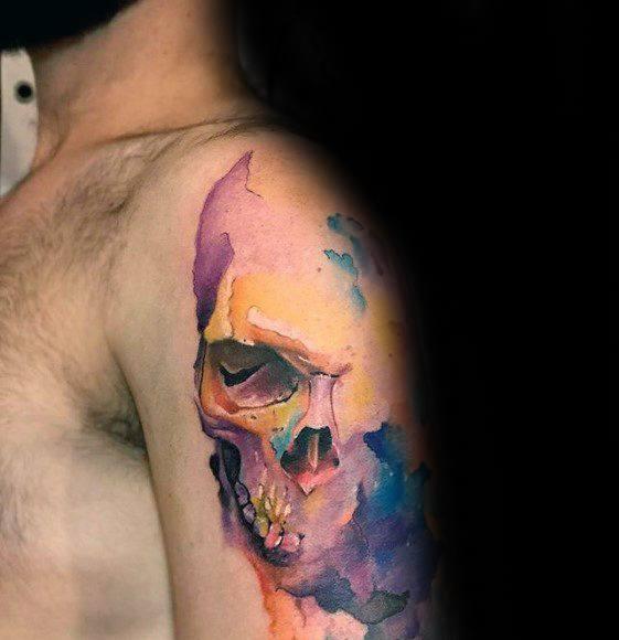 watercolor skull tattoo design