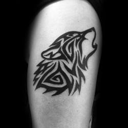 tribal animal tattoos tattoo wolf designs arm cool shoulder male mens bicep masculine believes blades infinite pretenses substance less few