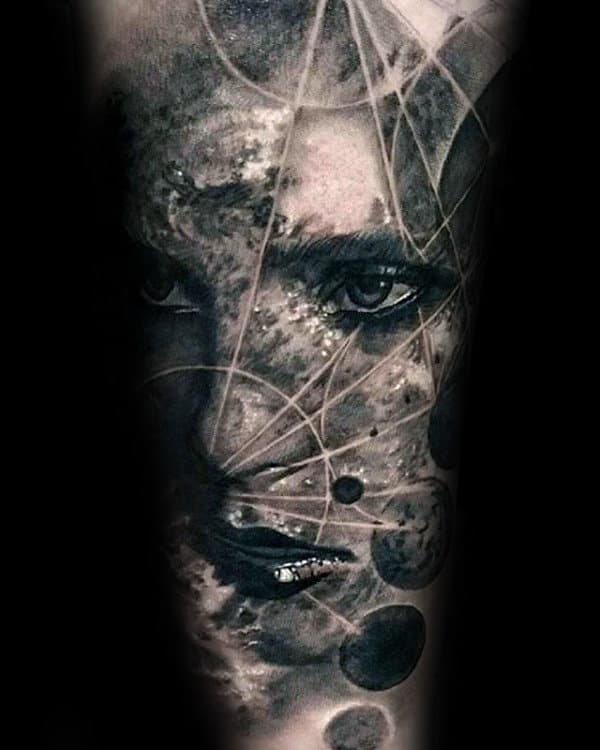 Awesome Mens Realistic Moon Phases Female Portrait Sleeve Tattoo