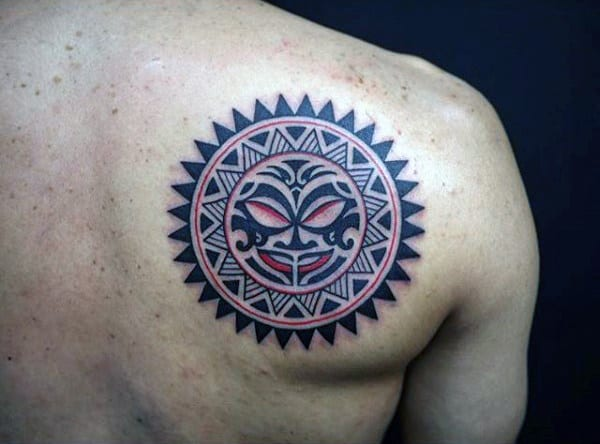 Back Of Shoulder Tribal Sun Shoulder Male Tattoo