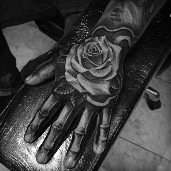 Hand Tattoos Men Rose