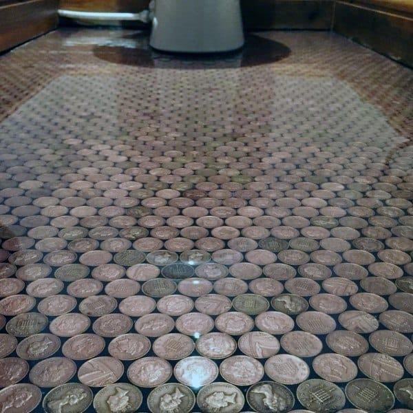 Top 60 Best Penny Floor Design Ideas  Copper Coin Flooring